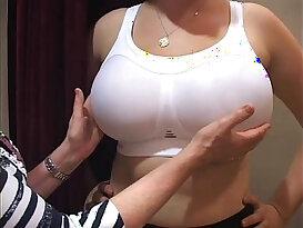 bra fitter grope big boobs girl in a bra shop