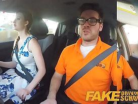 Fake Driving School pink nipples big tits redhead euro girl facial