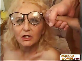 Granny in glasses gets good fuck
