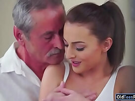 Czech Katy Rose sucks off and old guy before riding cock