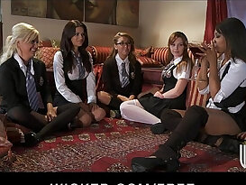 Five sexy lesbians in schoolgirl outfits start a big orgy