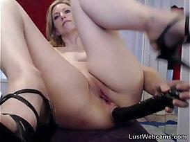 Blonde amateur MILF toys her ass on webcam