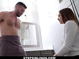 StepSiblings Cute Stepsis Seduced by Stepbro in Bathroom