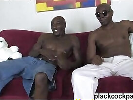 Blonde sexy girl with big ass black guys