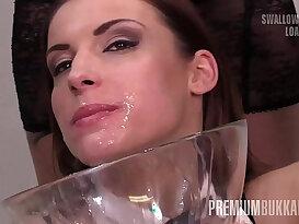 PremiumBukkake Victoria Daniels swallows huge mouthful cumshots