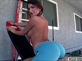 Adorable big booty August gets pussy hard by Mike