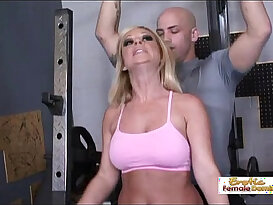 Busty blonde slut gets an orgasm from her big dick workout instructor