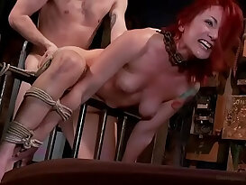 Redhead PAWG Sophia Locke is doggyfucked hard in rope bondage