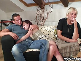Old blonde mother in law begging for doggy sex