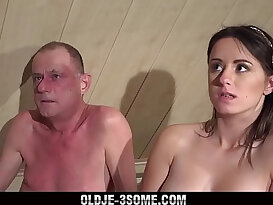 Virgins Jump on Grandpa Cock then fucks His Brains Out in Threesome Sex