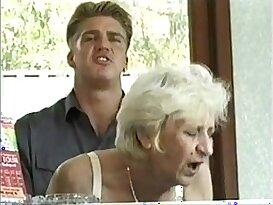 Ficky Martin fucks blonde granny very hard on the hotel desk