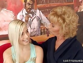 Granny Margarette Having Lesbian threesome with girl