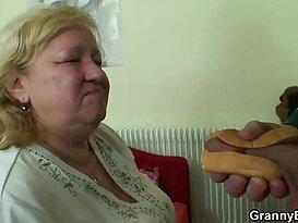 Busty granny tastes yummy cock